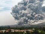 ash and lava during an eruption near from Karo, North Sumatra