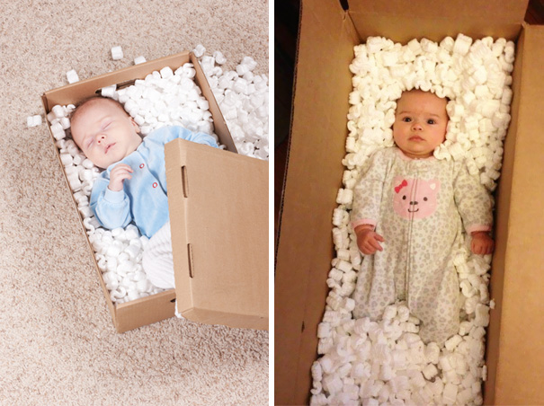#9 Cute Baby Sleeping In A Box. Nailed It